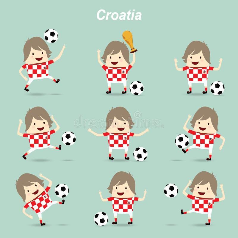 设置字符行动克罗地亚国家橄榄球队, businessma 向量例证