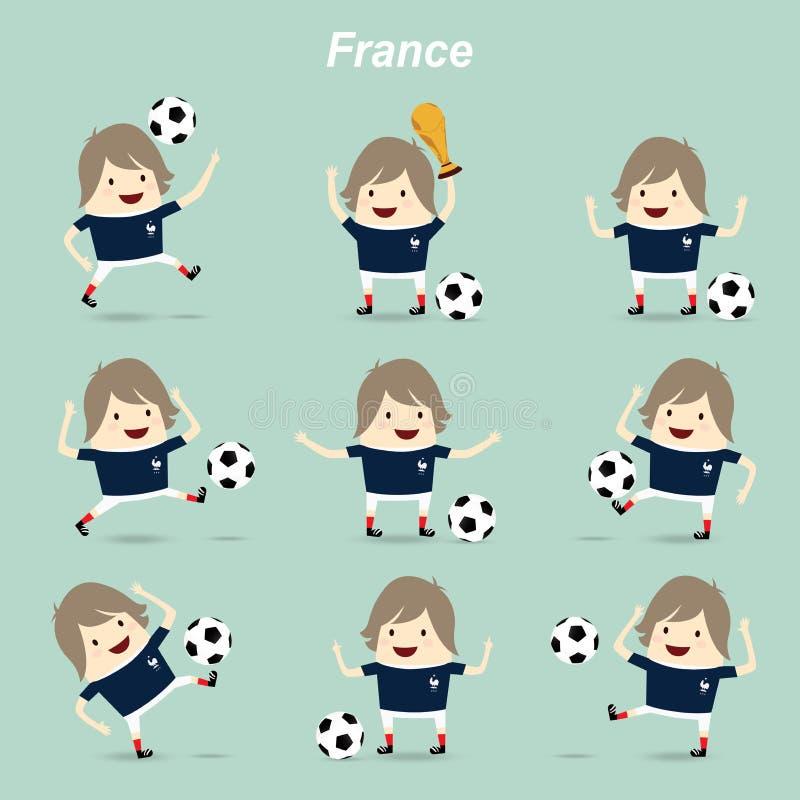 设置字符行动法国国家橄榄球队,商人 向量例证