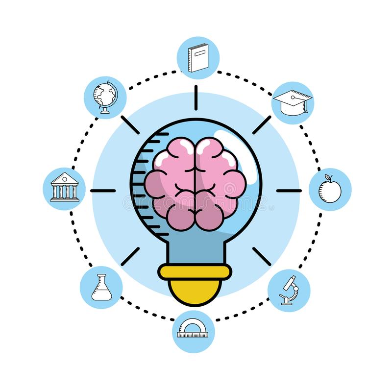 设置学校器物对教育知识 向量例证