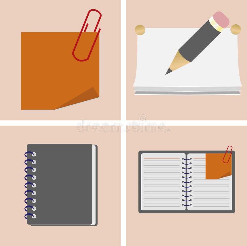 设置学校的象项目和办公室、铅笔、笔记本、纸夹、贴纸和日志 向量例证