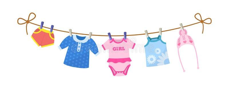 设置孩子的婴孩衣裳 新出生的女孩的衣裳 库存例证