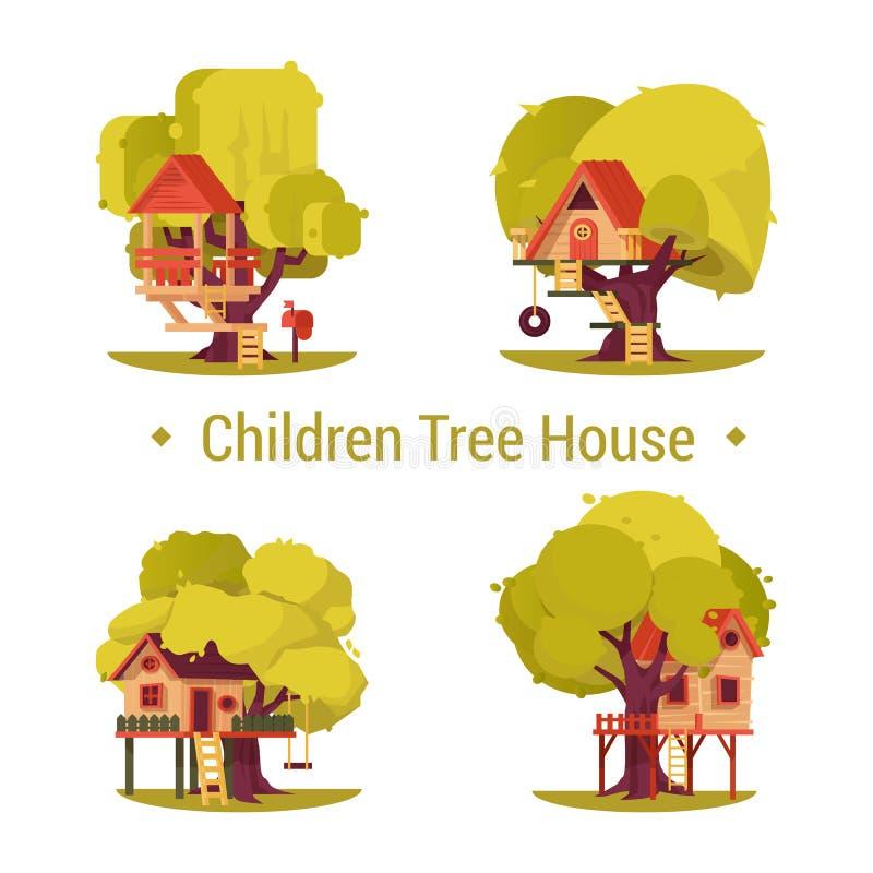 设置孩子的被隔绝的房子树的 向量例证