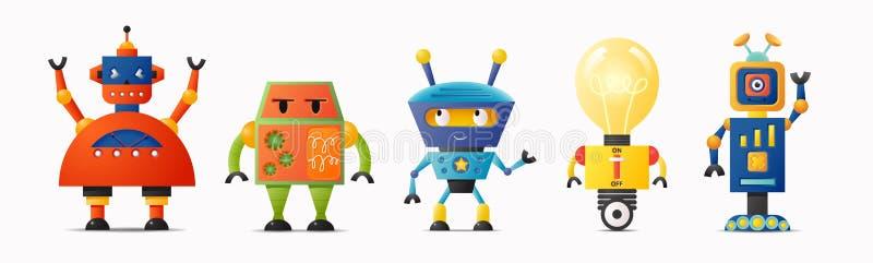 设置孩子的逗人喜爱的传染媒介机器人字符 向量例证