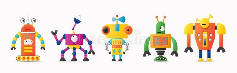 设置孩子的逗人喜爱的传染媒介机器人或妖怪字符 库存例证