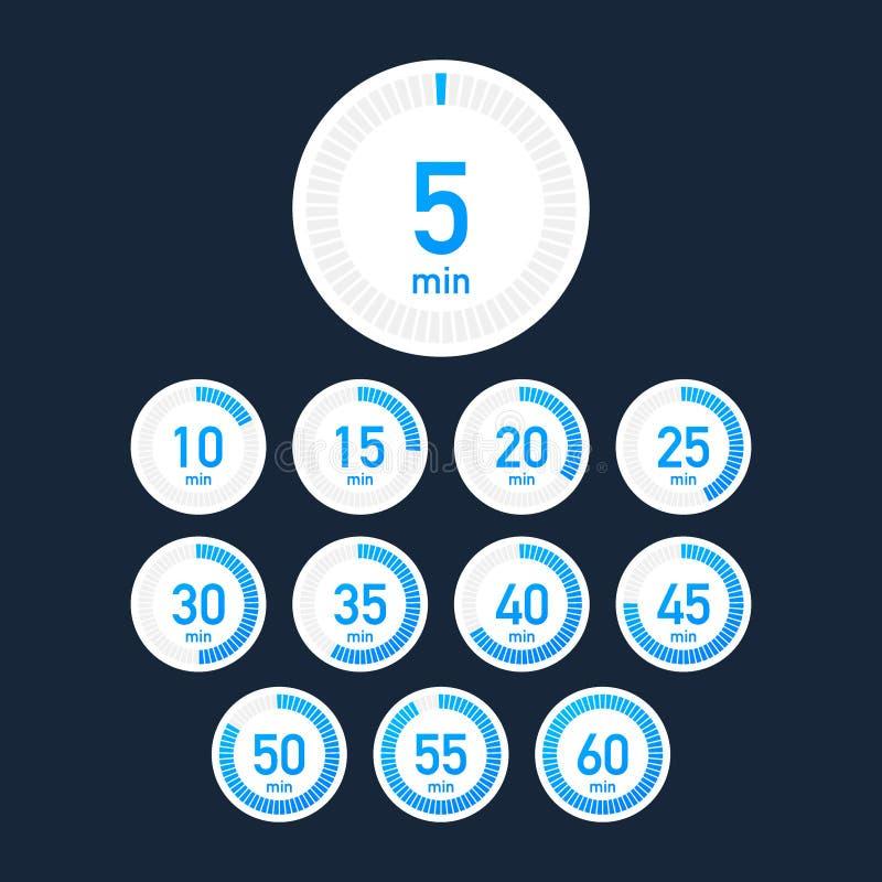 设置定时器 标志象 充分的自转箭头定时器 色的平的象 设置12个定时器象 平的设计传染媒介股票 皇族释放例证