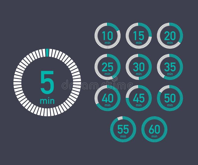设置定时器 签署图标 充分的自转箭头定时器 色的平的象 套12个定时器象 平的设计传染媒介例证 皇族释放例证