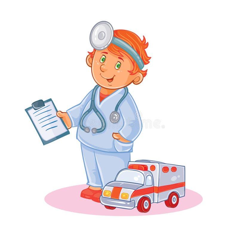 设置小儿童医生和他的玩具救护车传染媒介象  库存例证