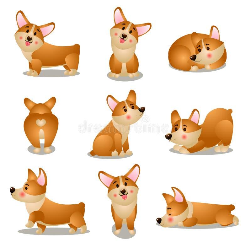 设置小狗狗字符用不同的每日情况 库存例证