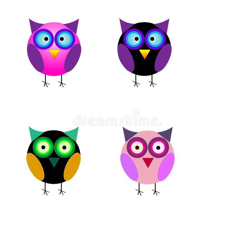 设置小逗人喜爱的动画片五颜六色的被隔绝的猫头鹰 皇族释放例证