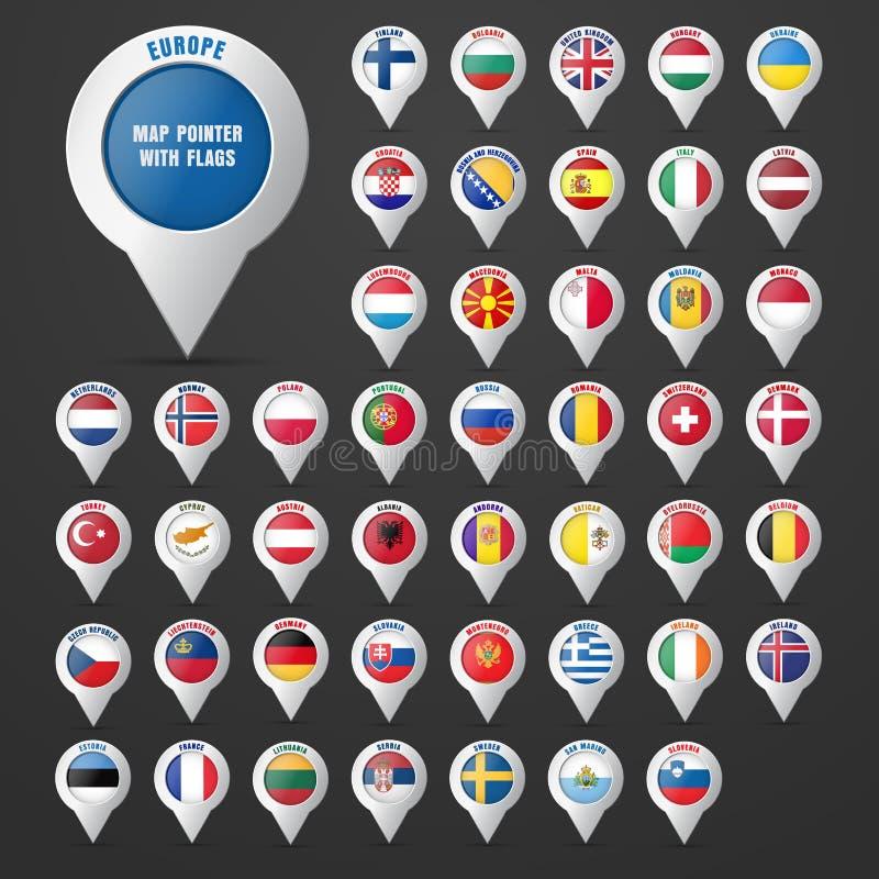 设置尖对与欧洲国家` s旗子的地图  皇族释放例证