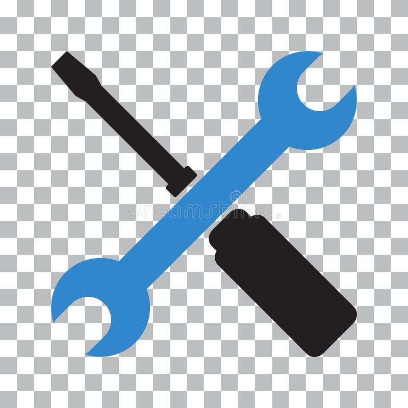 设置工具象 黑和蓝色对象 r 向量例证