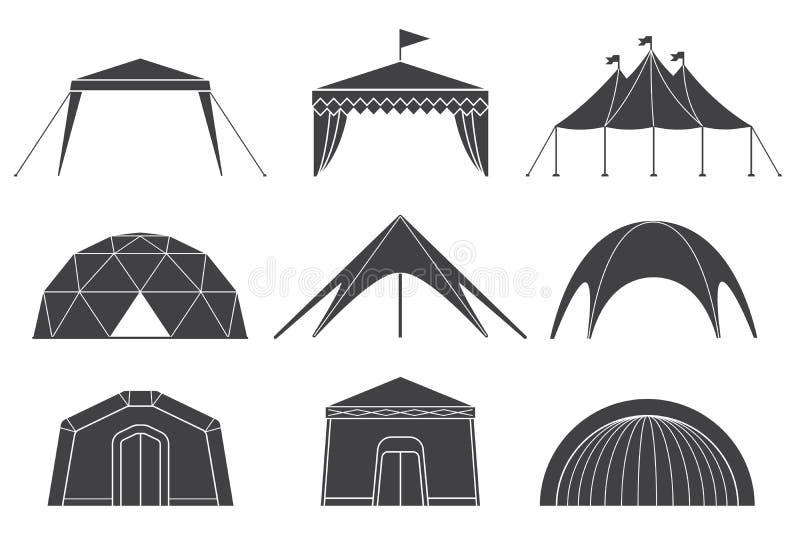 设置帐篷各种各样的设计野营和亭子帐篷的 库存例证