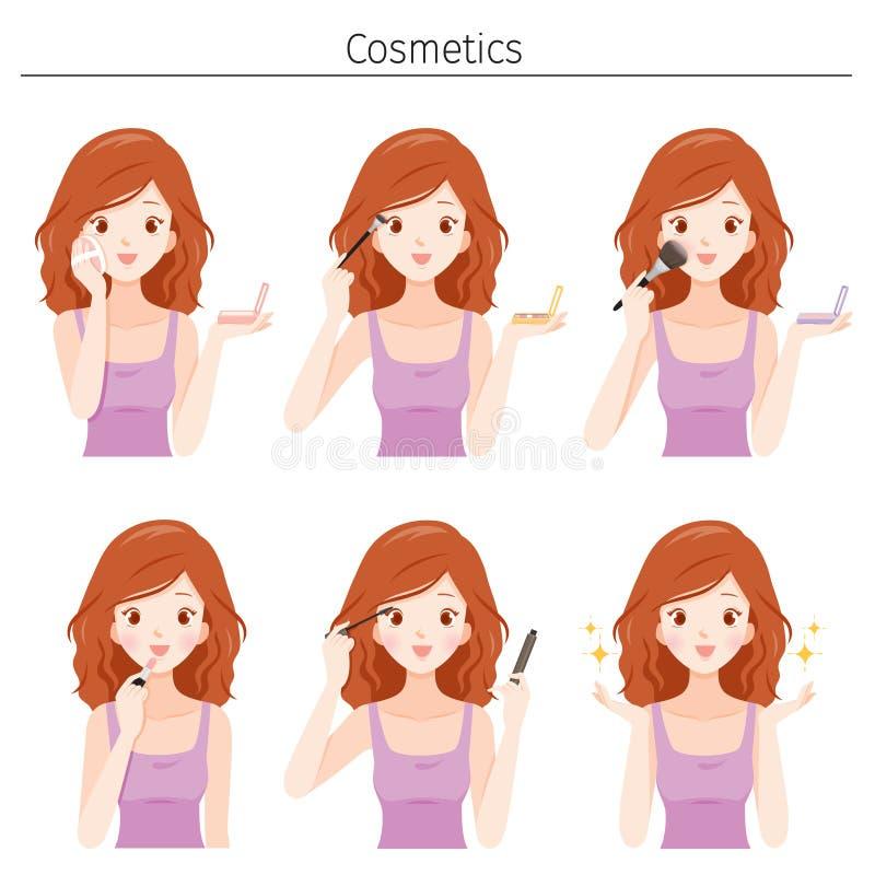 设置年轻女人用品种化妆用品组成 皇族释放例证