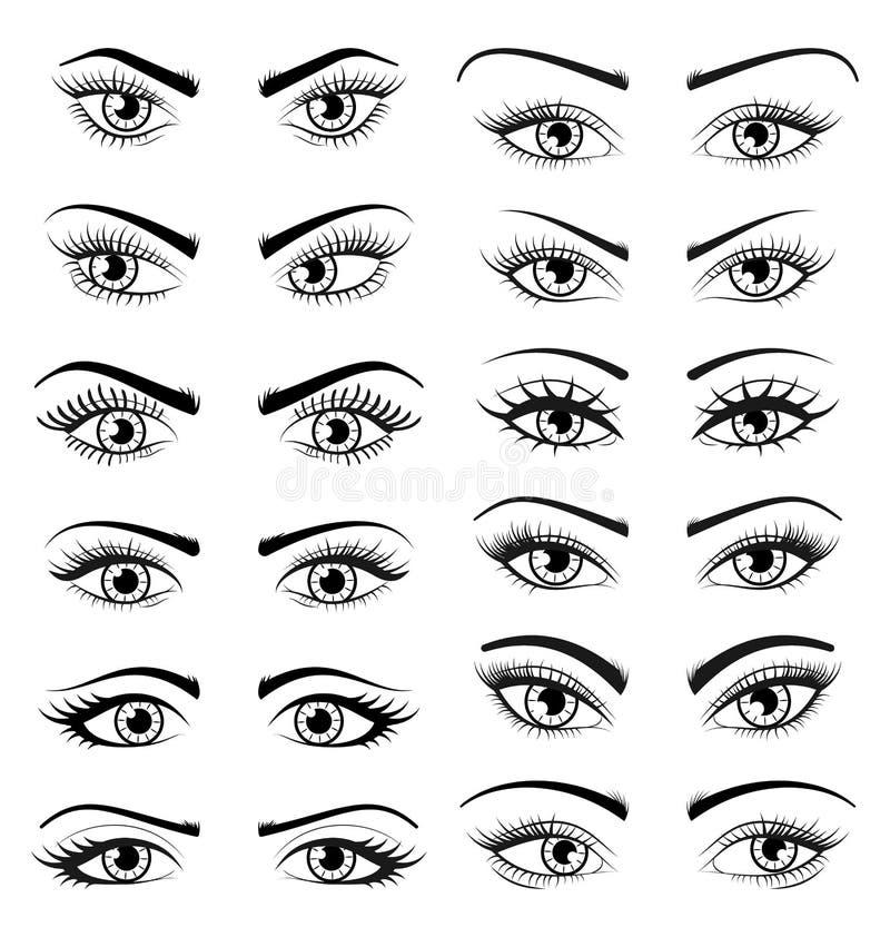 设置开放美丽的女性眼睛被隔绝在白色背景 库存例证