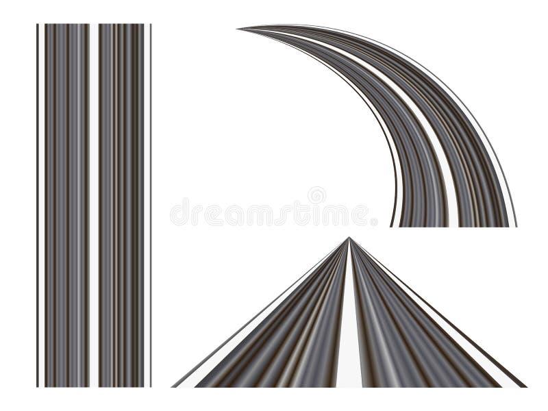 设置弯曲的路 向量例证