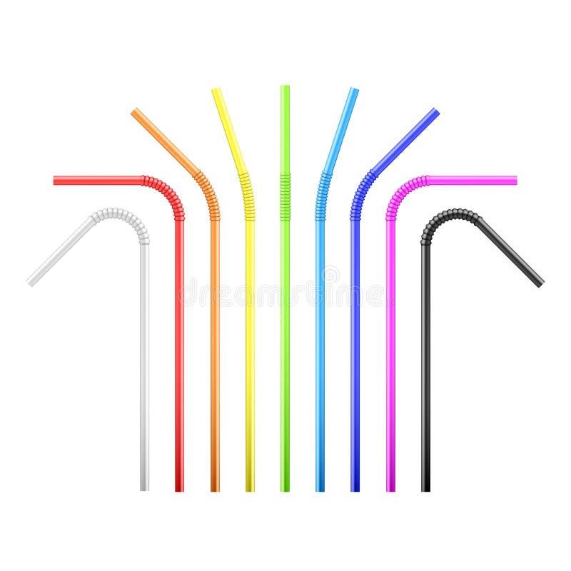 设置彩虹五颜六色的灵活的鸡尾酒秸杆 r 向量例证