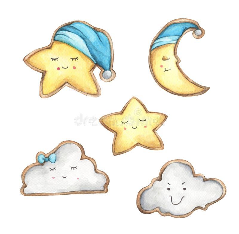 设置微笑面孔曲奇饼以星、月牙和云彩的形式 向量例证