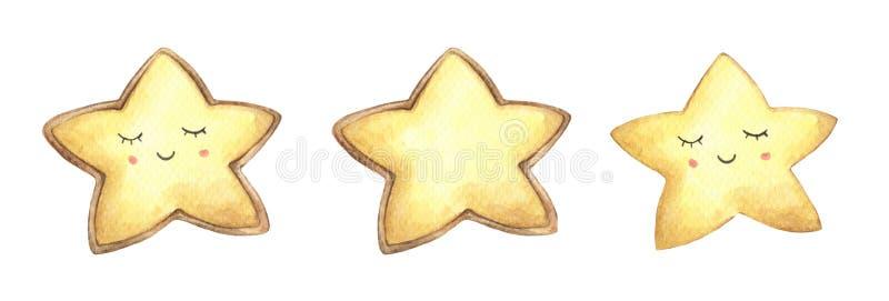 设置微笑面孔曲奇饼以星的形式 向量例证