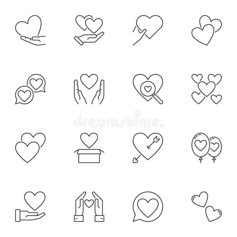 设置心脏和爱概念概述象或商标元素 库存例证