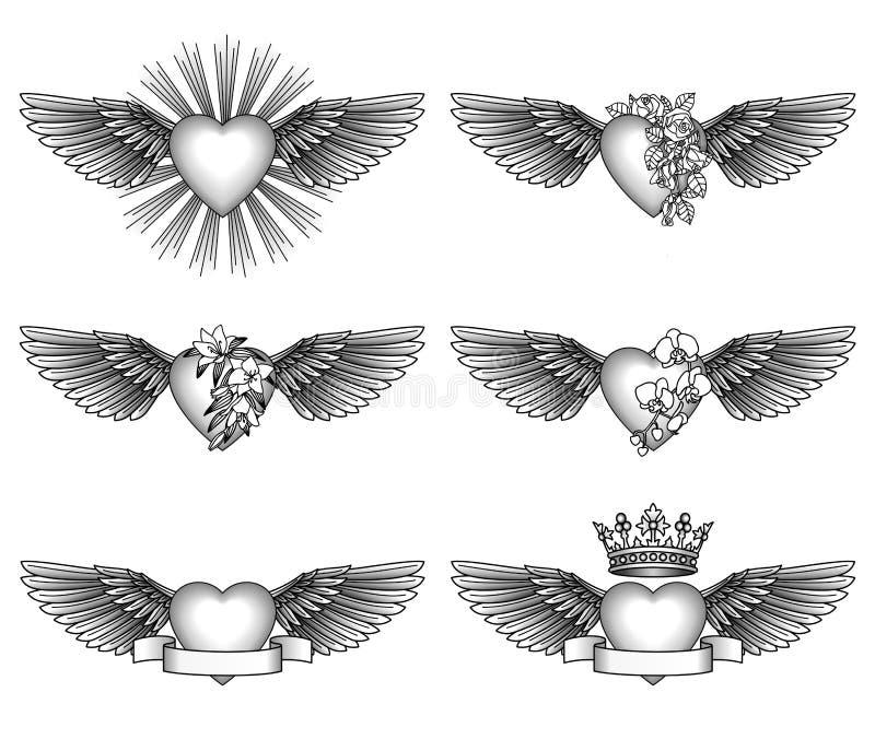 设置心脏和翼 皇族释放例证