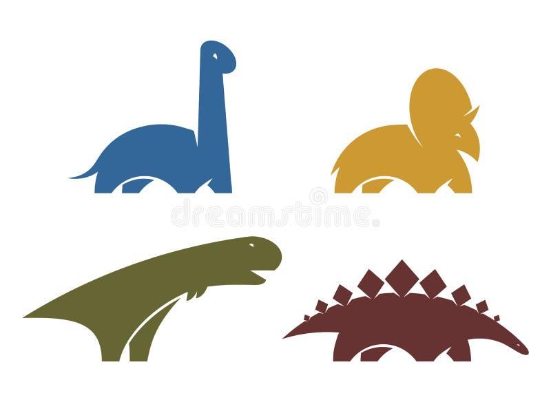 设置恐龙传染媒介商标设计元素 侏罗纪公园世界 汇集恐龙在白色背景现出轮廓隔绝 dino 皇族释放例证