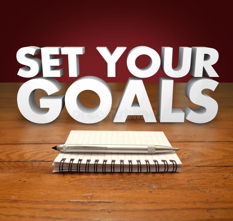 设置您的目标3d词笔记薄笔 免版税库存照片