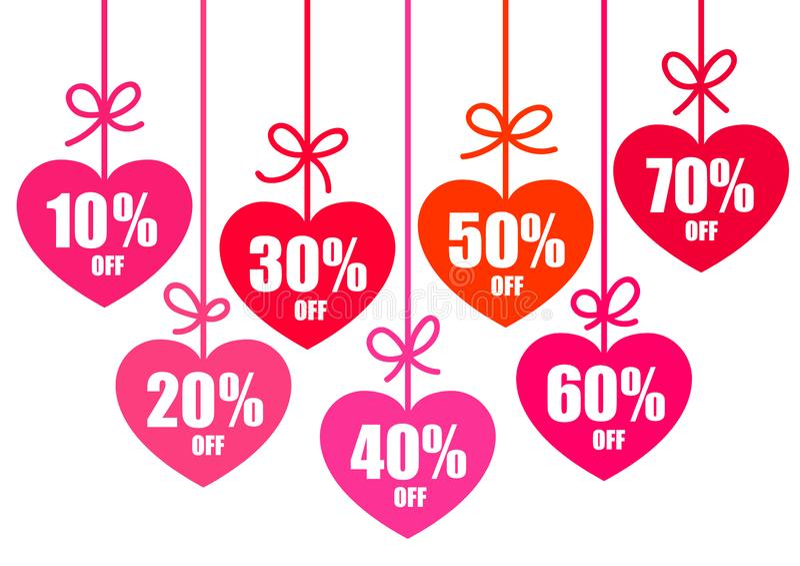 设置情人节销售折扣标记10,20,30,40,50,60,70%以心脏的形式 假日提议 向量 向量例证