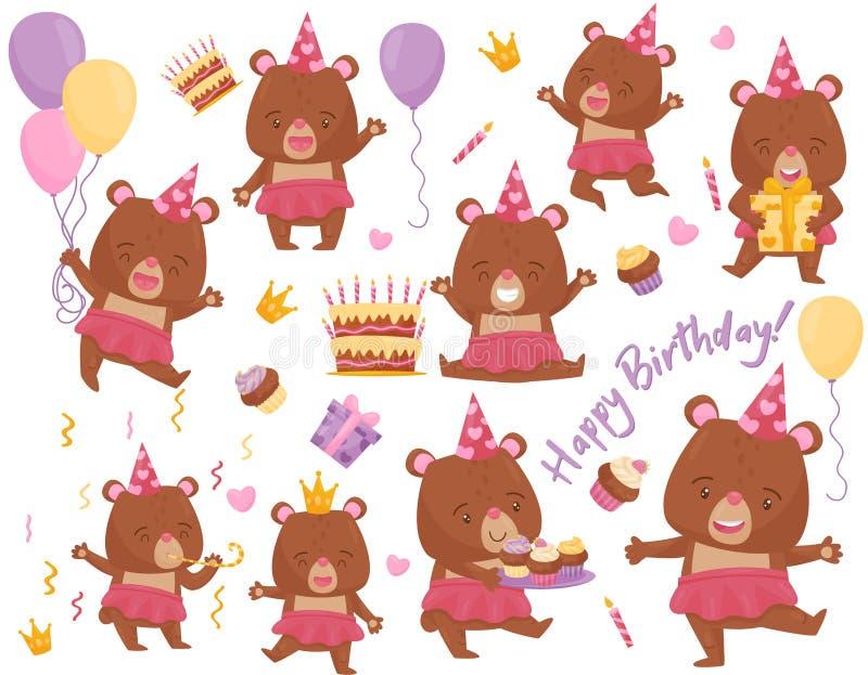 设置愉快的女孩熊用不同的行动 可爱的被赋予人性的动物 生日明信片的平的传染媒介元素 向量例证