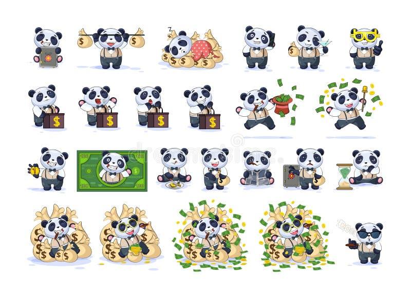 设置成套工具在西装的汇集熊猫 库存例证