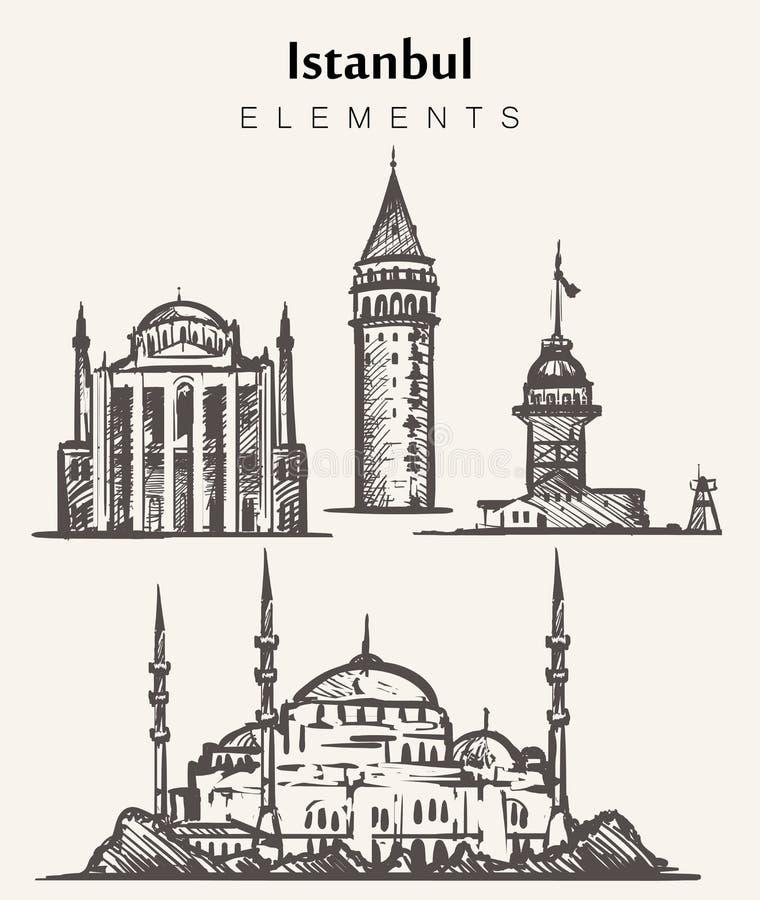 设置手拉的伊斯坦布尔大厦 伊斯坦布尔元素剪影例证 库存例证