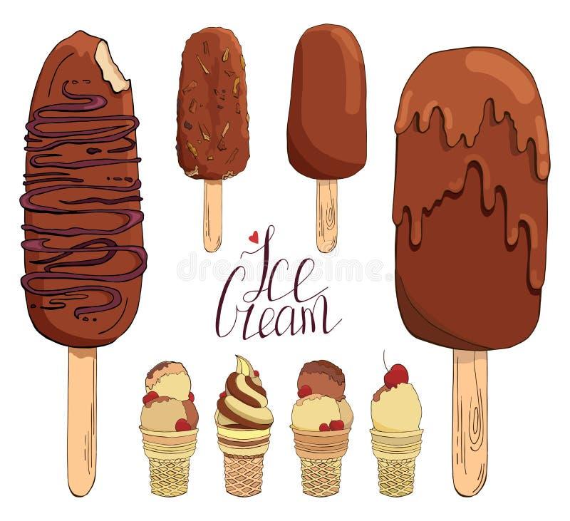 设置手拉的冰淇淋 被隔绝的传染媒介元素的汇集标签的,徽章,贴纸,象 使用为酒吧 皇族释放例证