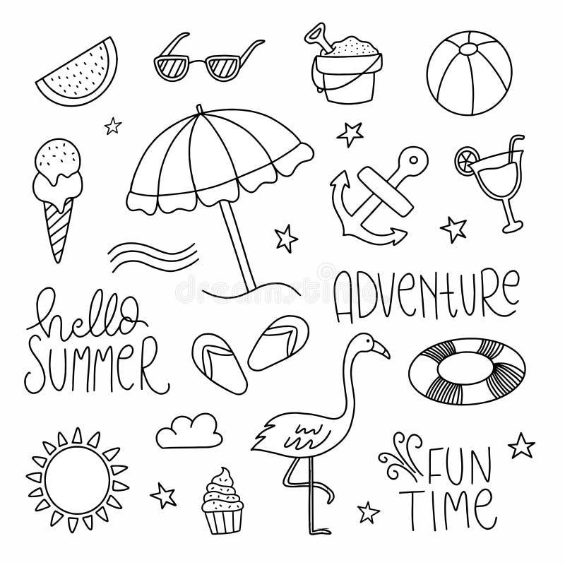 设置手拉的夏天乱画 手速写了夏天象例证 r 库存照片