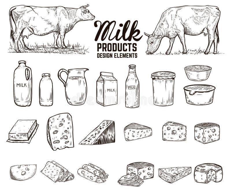 设置手拉的奶制品设计元素 黄油,乳酪,酸性稀奶油,酸奶,母牛 对包裹,海报,标志,横幅, 向量例证