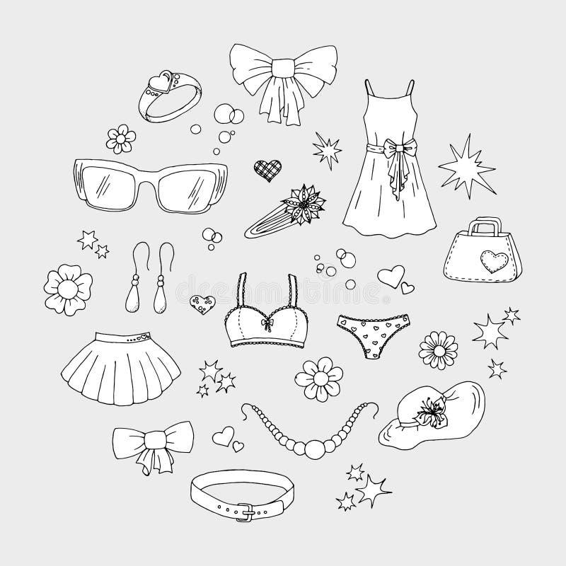 设置手拉的妇女的事衣裳、内衣、辅助部件、花、心脏和星在乱画样式 向量例证