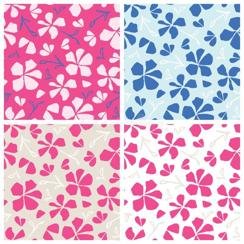 设置手拉的无缝的样式 花卉传染媒介例证,佐仓开花 日本传统表面设计 皇族释放例证