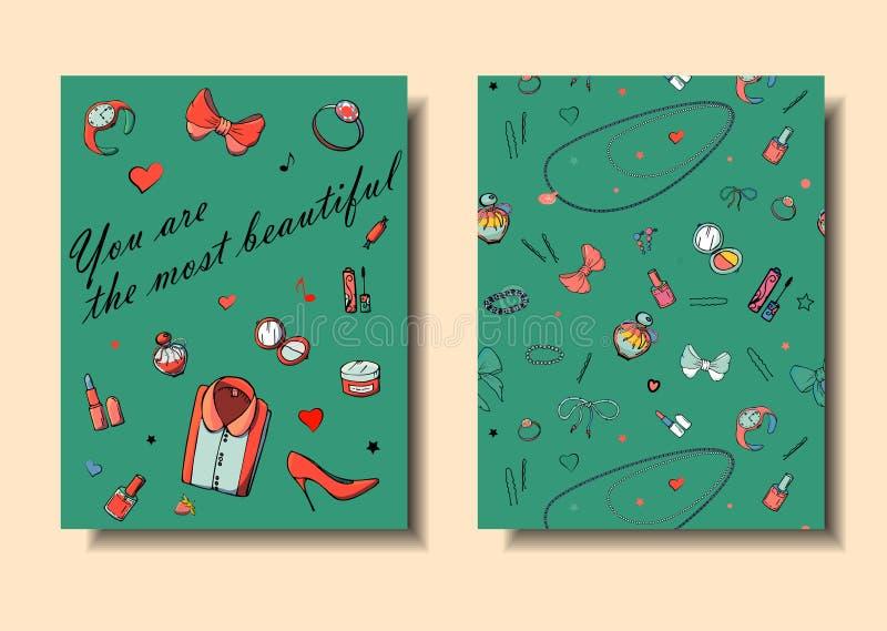 设置手拉的模板塑造与女孩事、浪漫对象和词组的卡片 与妇女的衣物的明信片, 库存例证