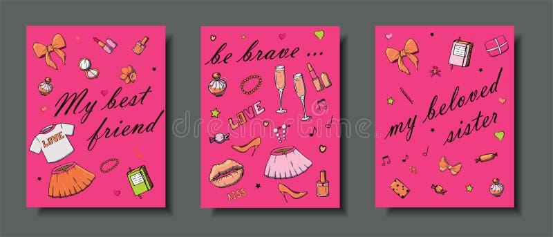 设置手拉的模板塑造与女孩事、浪漫对象和词组的卡片 与妇女的衣物的明信片, 向量例证