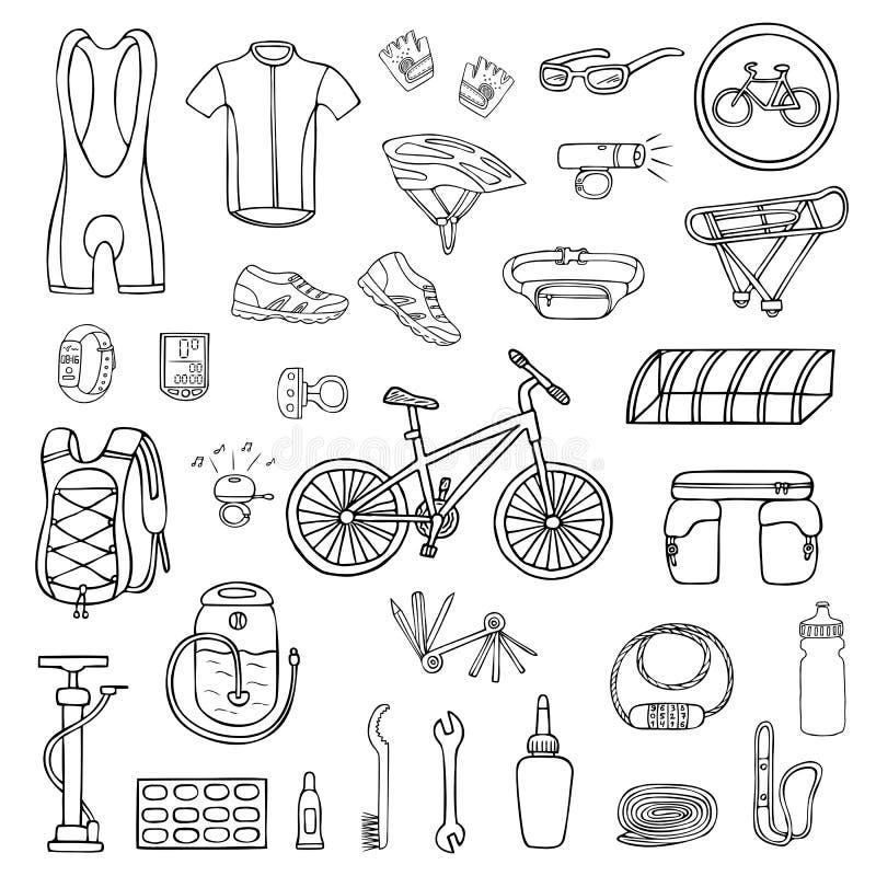 设置手拉的自行车设备和衣裳 皇族释放例证