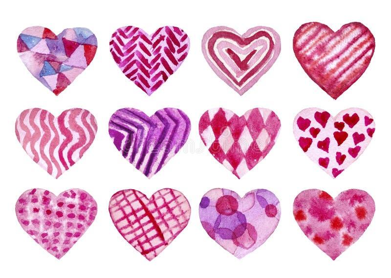 设置手画水彩心脏 被隔绝的对象完善对情人节卡片或浪漫明信片 皇族释放例证