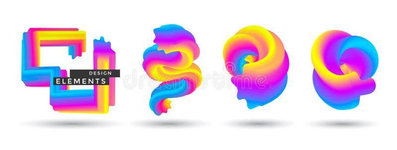 设置抽象五颜六色的横幅 皇族释放例证