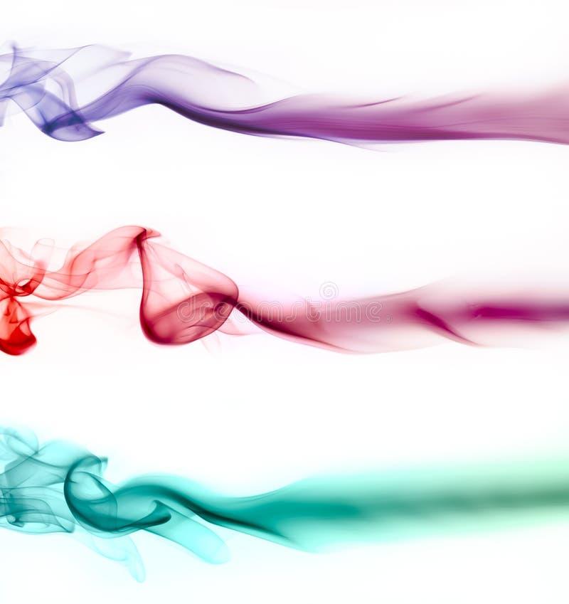 设置抽象五颜六色的波浪烟 免版税库存图片