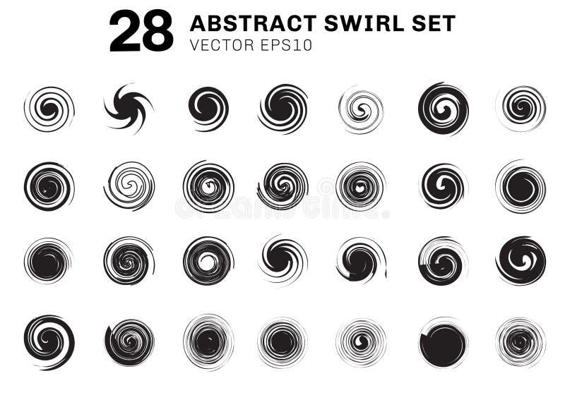 设置抽象黑螺旋和漩涡行动元素收藏在白色背景 您能为象,成份小册子使用 向量例证