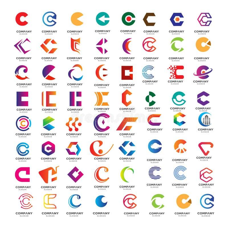设置抽象C信件商标收藏 皇族释放例证