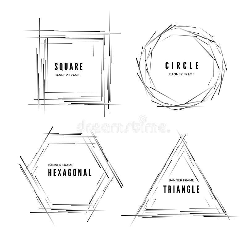 设置摘要现代几何形状横幅 : 皇族释放例证