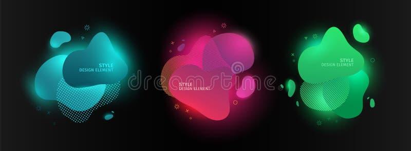 设置摘要现代图表元素 动态颜色形式和线 与明亮流动的梯度霓虹抽象横幅 皇族释放例证