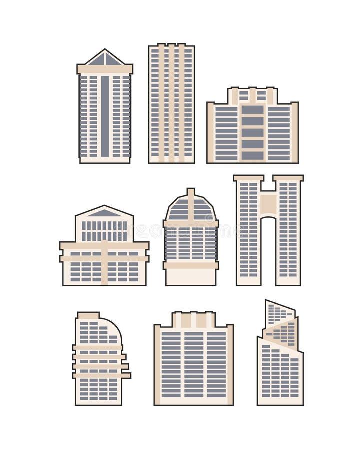 设置摩天大楼和大厦 适应图标 都市房子 库存例证