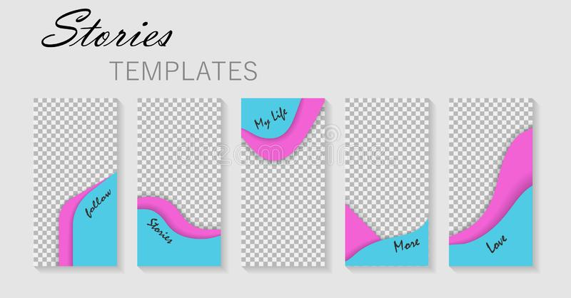 设置故事模板 社会媒介的设计版面背景 布局,博克的盖子 大模型相框 ?? 向量例证