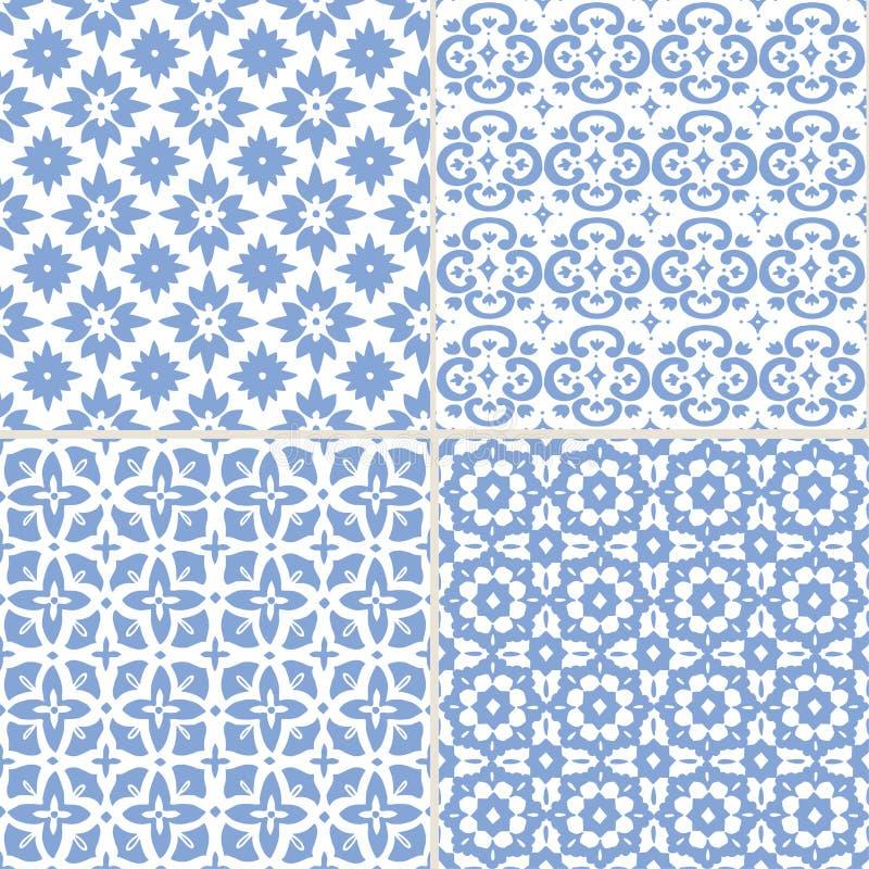 设置斋月Kareem贺卡的,伊斯兰教的背景,织品,网手拉的蓝色摩洛哥无缝的样式 向量例证