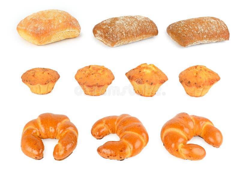 设置新鲜面包产品小圆面包,新月形面包,ciabatta 免版税库存照片