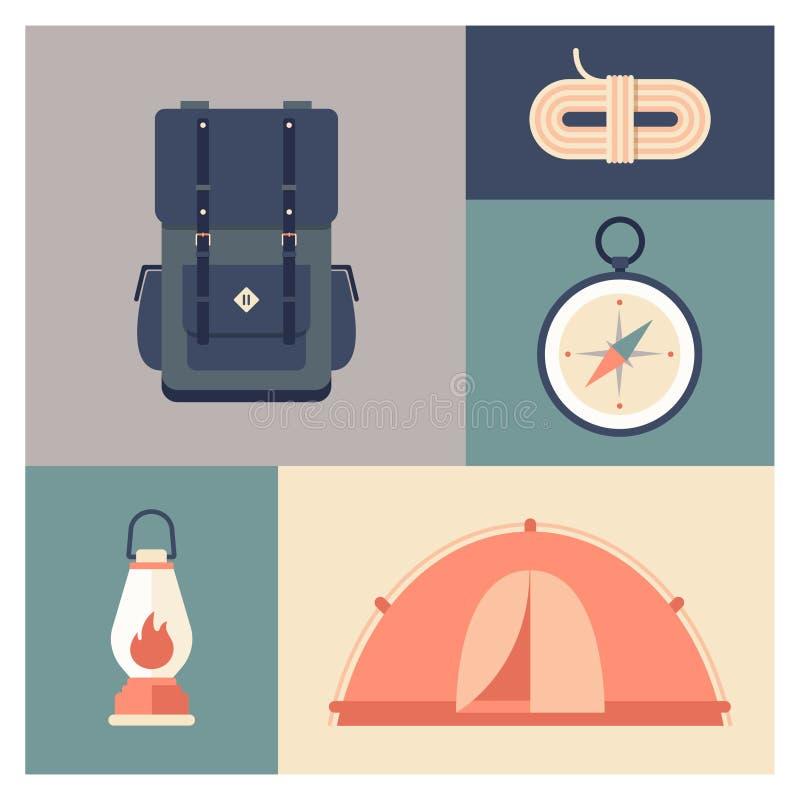 设置旅行的,休闲,冒险设备 免版税库存图片